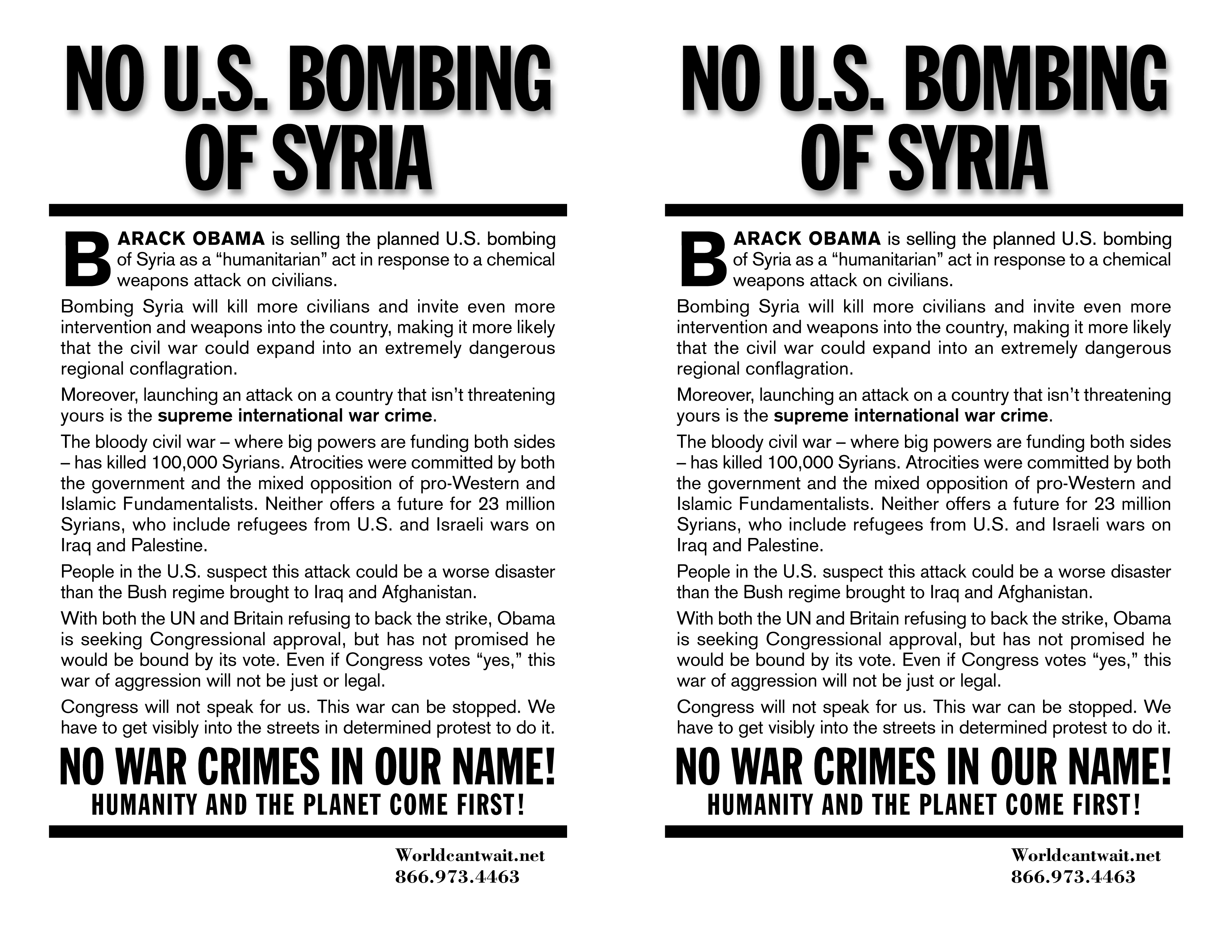 No bombing of Syria protest flier