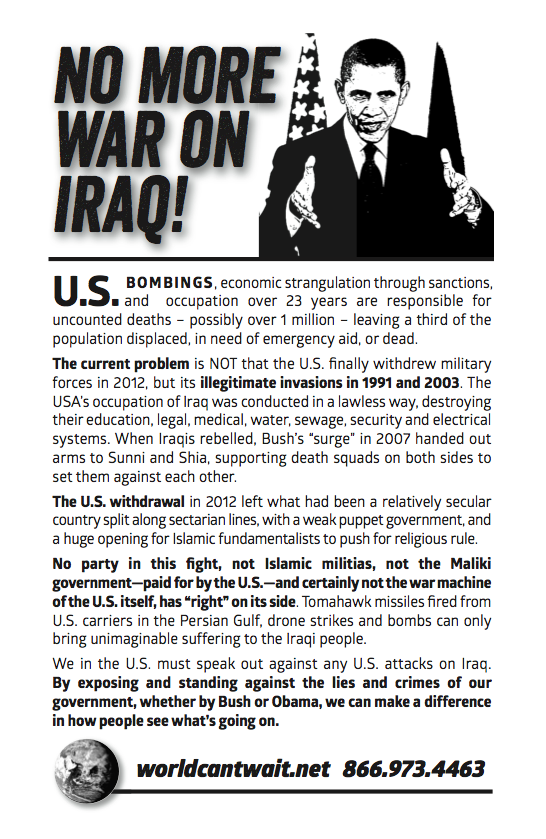 No war on Iraq flier