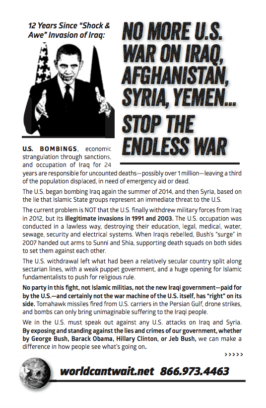 Antiwar Iraq and Syria Information Flier - No War on Iraq - Stop Bombing Syria