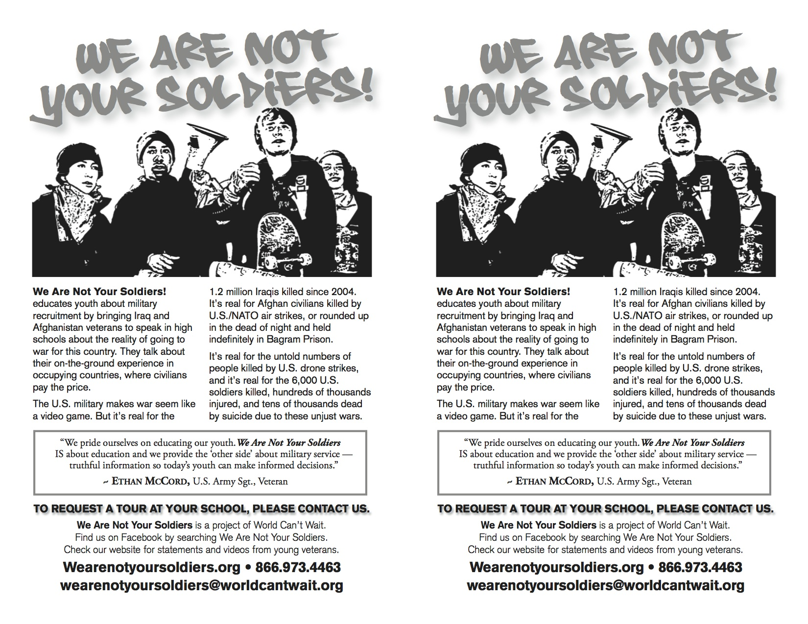 We are not your soldiers flier