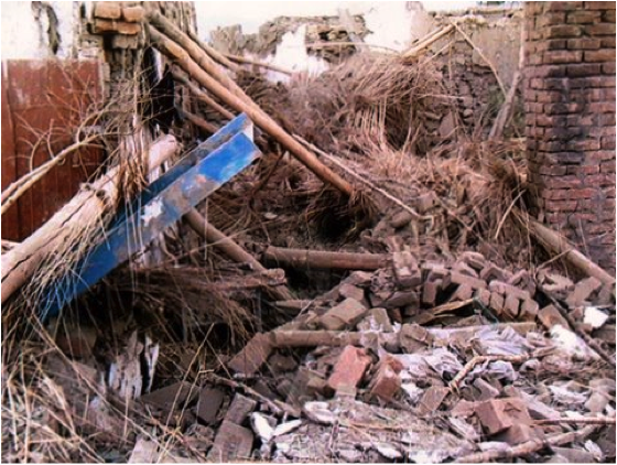 A House destroyed by a drone strike on December 18th, 2009 Five civilians were killed. Photo by Noor Behram.