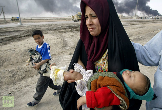 Iraq mom with hurt baby