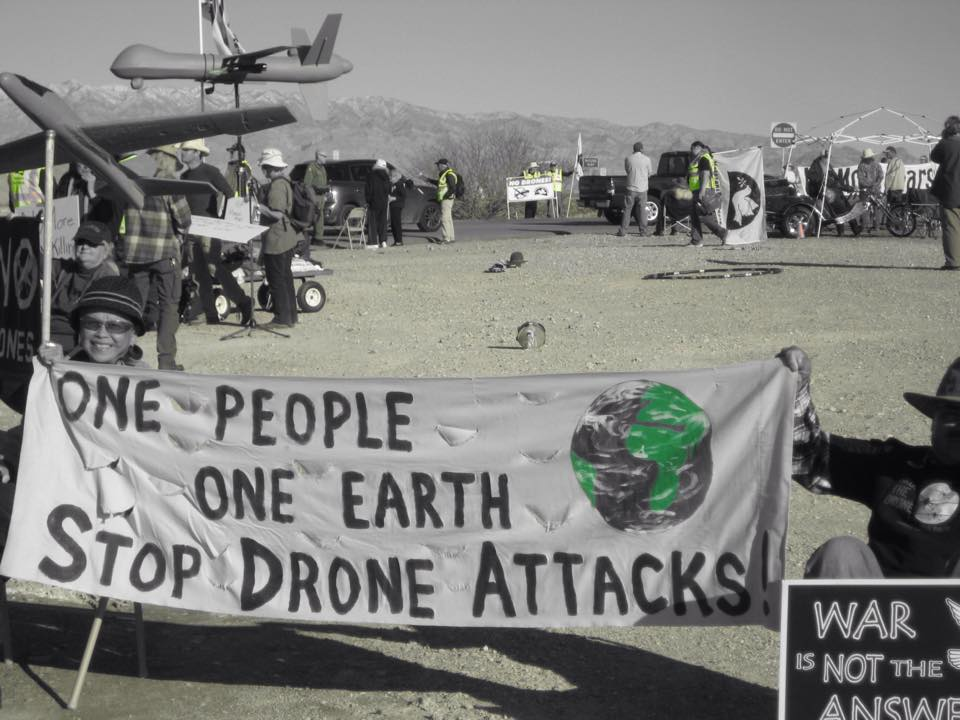 Protesting at Creech air force base in Nevada