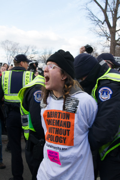 Stop Patriarchy blocks the March for Life, Washington DC January 2015