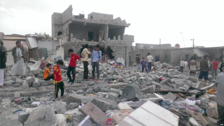 This neighborhood where more than 100 buildings have been damaged has brought attention to the plight of Yemeni blacks with neighboring communities coming to witness the damage - Sanaa - Oct-9-2015-768x433
