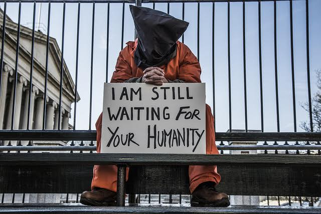 A close Guantánamo protester in Washington, D.C. shortly before Barack Obama's second inauguration in January 2013. (Witness Against Torture)