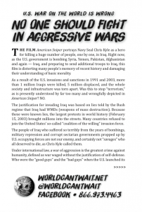 American Sniper flier: U.S. War on the World is Wrong | No One Should Fight in Aggressive Wars