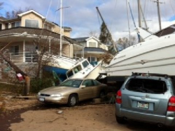 Boats crashed into houses in Staten Island