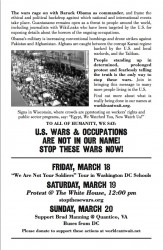 March 19th Anti-war protest flier