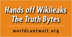 Wikileaks sticker orange