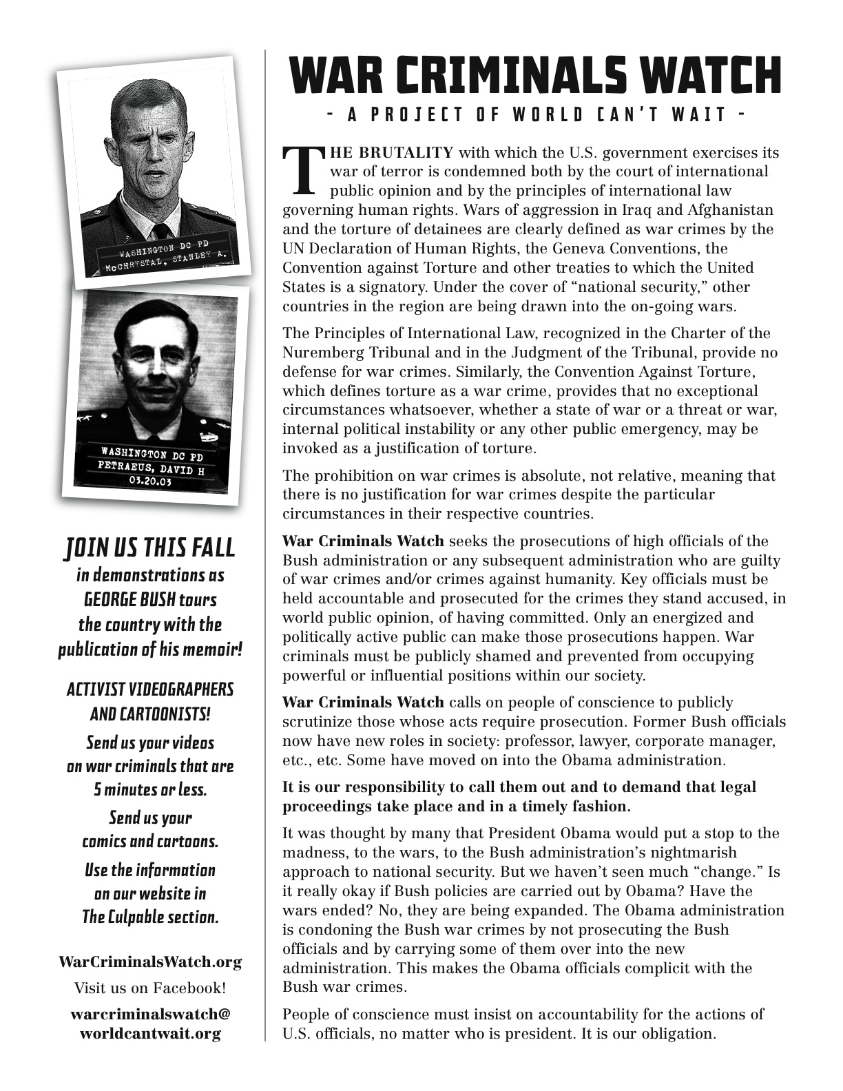 War Criminals Watch flier