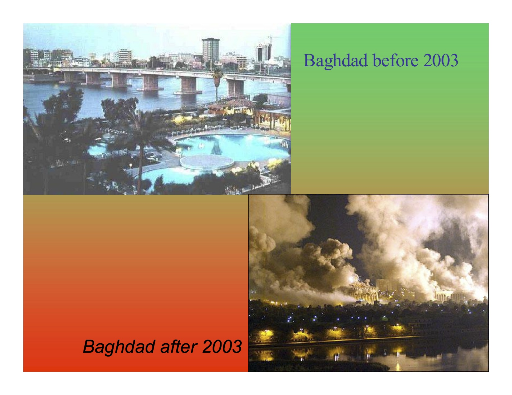 Iraq before and after the war