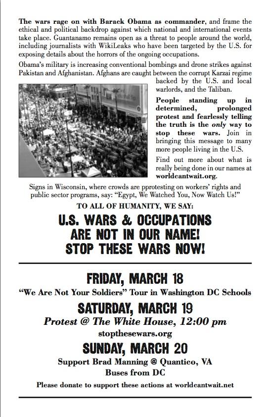 March 19th Anti-war protest flier