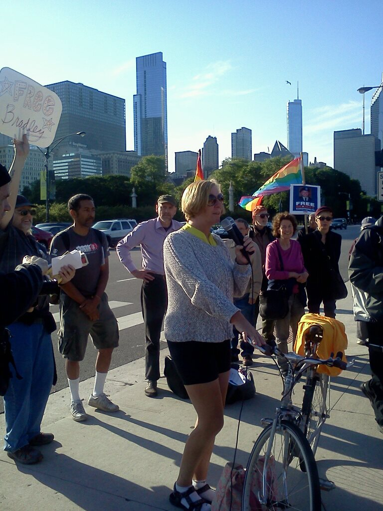Cindy Sheehan protesting for Bradley Manning in Chicago